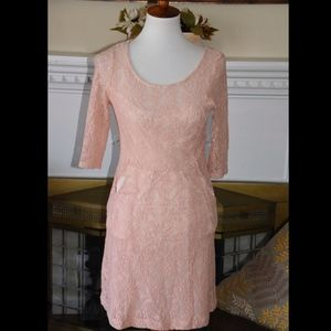 Maeve Anthropologie Lefkara Pink Lace Dress